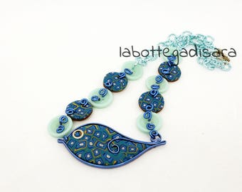 Blue Bird polymer clay pendant necklace