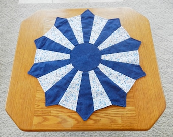 Blue and white Dresden Plate Topper, Dresden Plate Table Topper, Dresden Plate Candle Mat, Blue and White table topper, Candle Mat Item #204