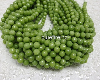 46 pcs beads 8mm round faceted dyed jade in grass green color