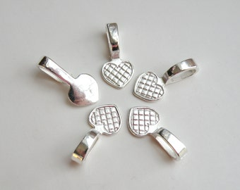 10 Heart glue on bails shiny silver plated 21x10mm  DB61812