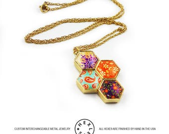 Bohemian Patchwork Necklace - Gold - Interchangeable Artwork