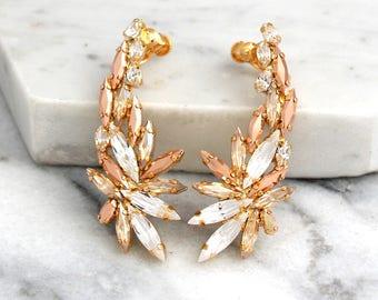 Climbing Earrings, Bridal Ear climbing Earrings, Swarovski Ear Crawlers, Rose Gold Cuff Earrings, Bridal Earrings, Ear Cuff Earrings