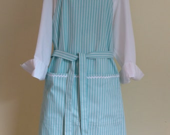 Plus Size Apron, Turquoise Stripe, With Generous Cut and Long Ties