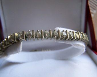 "Vintage 70's ""SILVER CZ TENNiS BRACELET""  Channel Set Bracelet"