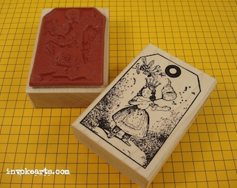 Bee Girl Tag Stamp / Invoke Arts Collage Rubber Stamps