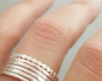 Silver Rings six 6 stacking ring 16 gauge set of five hammered stacking rings . choose your size