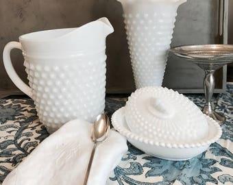 Vintage Hobnail Milk Glass pitcher
