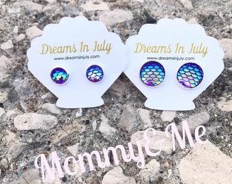 Mermaid Scale Earrings, Mommy&Me, Purple Studs, Mermaid Earrings, Mermaid Scale Studs, Mermaid Jewelry, Purple Earrings, Christmas Gifts