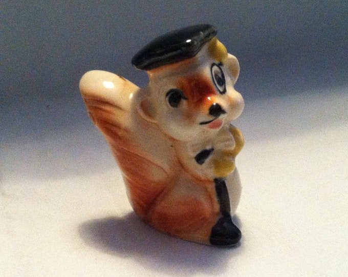 Vintage salt porcelain salt spreader fox figure decoration beautiful deco