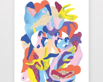Ass bottles: poster printed digitally, soft colors, abstract and figurative forms, fuzzy body, erotic mood
