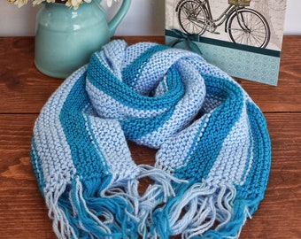 Blue Stripes Hand Knitted Scarf