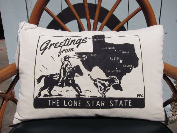 Texas Throw Pillow - Greetings from the Lone Star State, Printed and Sewn by Hand
