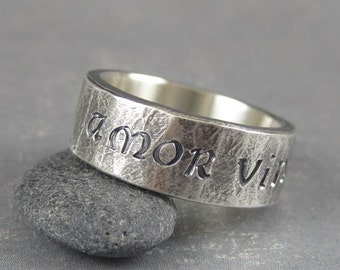 Amor vincit omnia ring, rustic mens ring, manly ring, Unique letter style rings, Love conquers all, inspirational ring, hand wrought ring