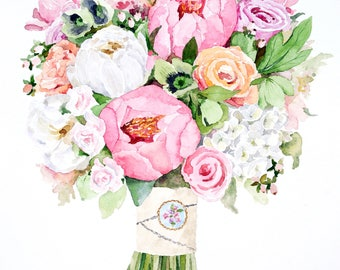 ORIGINAL Custom Bridal Bouquet Painting in Watercolor. Wedding flowers portrait. Anniversary gift. Gift for her. Botanical print