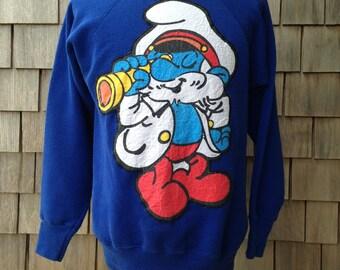 Vintage 80s PAPA SMURF Sweatshirt - Medium - The Smurfs - Captain sailor smurf