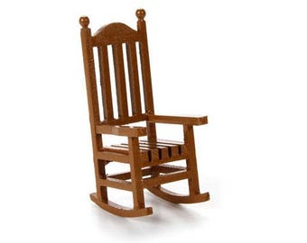 Miniature wood rocking chair, dollhouse rocking chair , brown miniature rocking chair