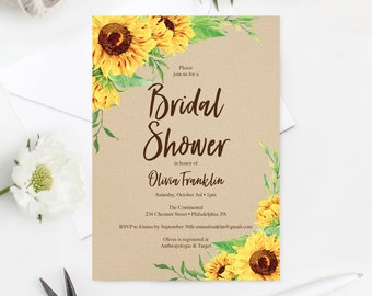 Sunflower Bridal Shower Invitation -  Bridal Brunch Invite - Editable Printable Invite - Bridal Shower Invites - Instant Download Sunflowers