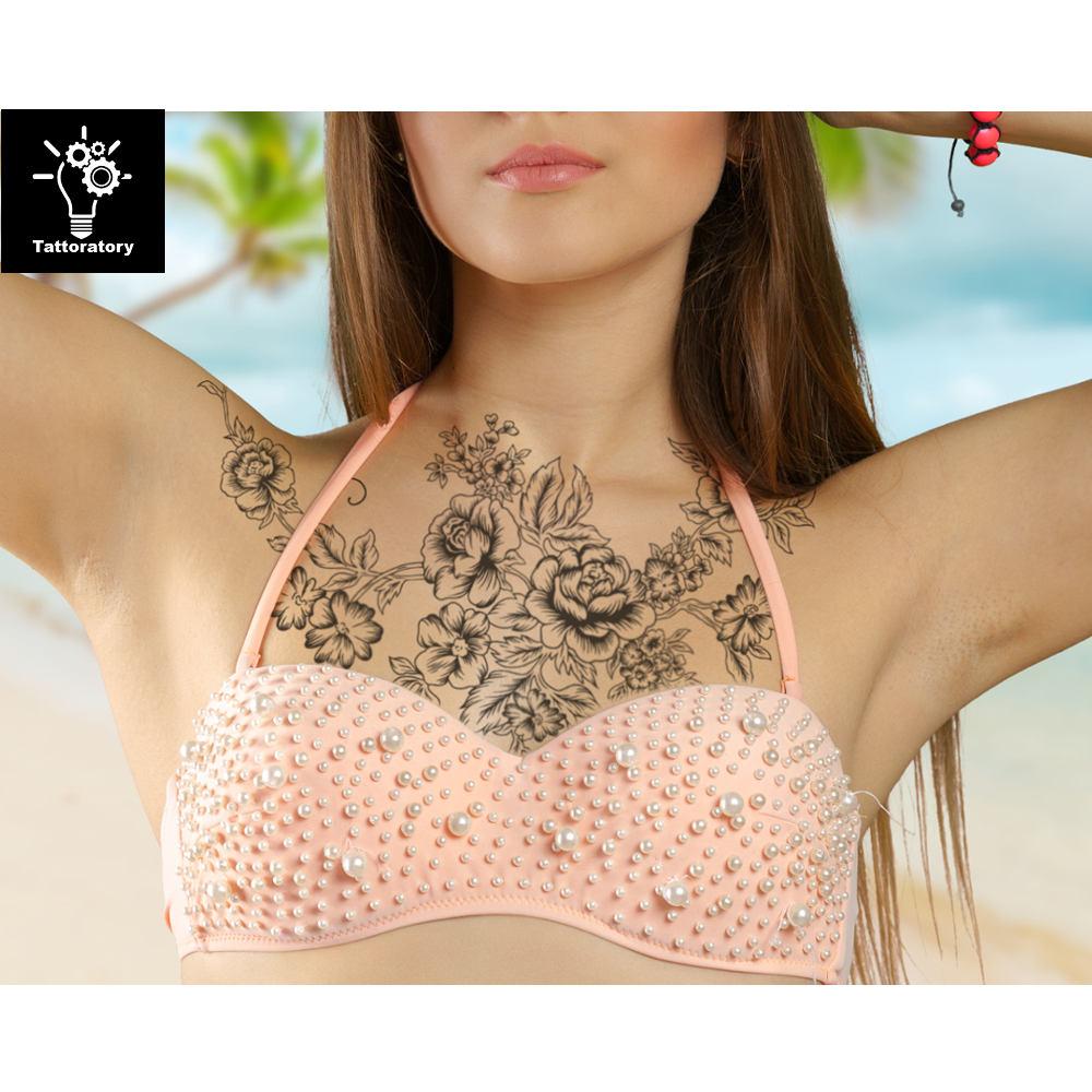 tempor re tattoo rmel f r frauen brust tempor re tattoo. Black Bedroom Furniture Sets. Home Design Ideas