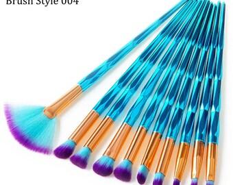 10 Piece Metallic Teal Makeup Eyeshadow Brushes Style 004