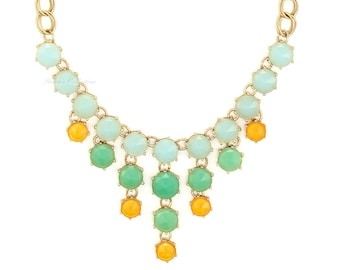 Mint Green Bubble Necklace With Gold Link Pastel Green Bubble Necklace Mint Statement Necklace Bib Necklace