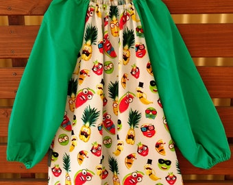 Kids Long Sleeve Art Smock - Size 8-10. Zany Fruits.