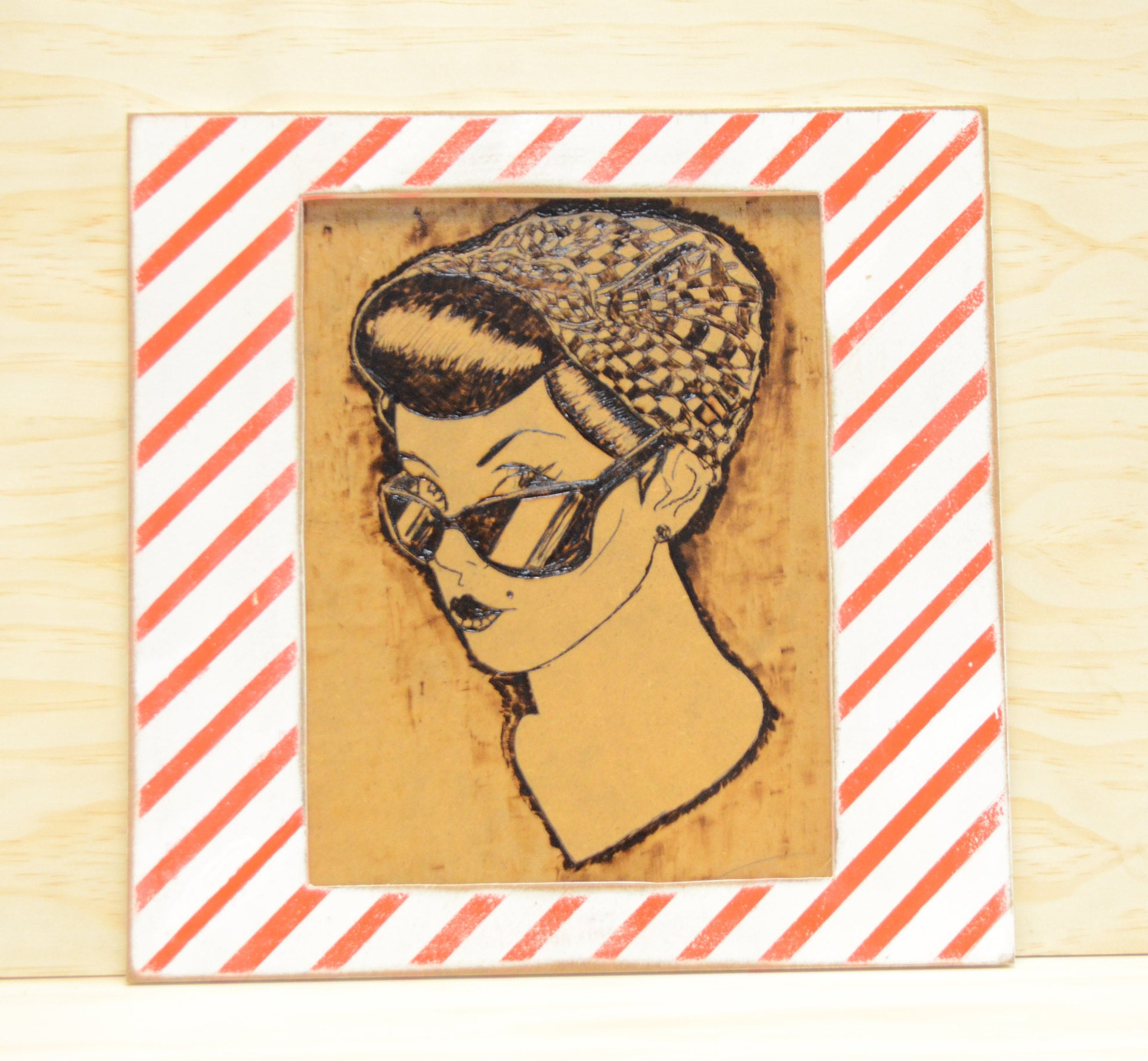 Pin-up girl wall art wood burning wood poster wood art