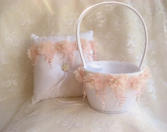 Vintage Flower Girl Basket and Pillow -  Ring Bearer Pillow, Flower Girl Basket Set Blush Venice Lace Lace