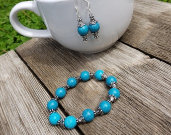 Blue and silver bracelet and earrings set