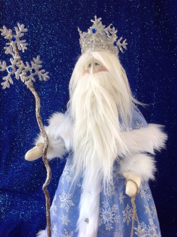 """Old Man Winter - Mailed Cloth Doll Pattern 21 1/2"""" Old Man Winter Santa Holiday Free Standing Stump Doll Pattern"""