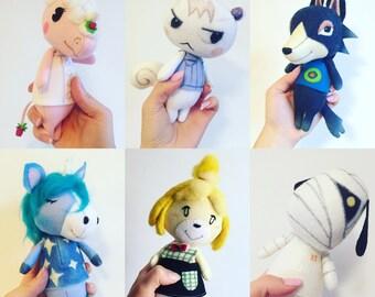 Custom Animal Crossing Wobble Doll Art Wool felt poseable handmade
