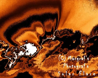 """Orange Abstract sun clouds Photography print, 8x10 altered photo, abstract photographic """"painting"""" called Solar Flare"""