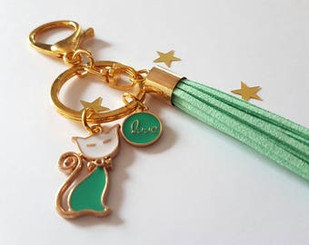 Cute keychain/ring with 3 followers cat, love and tassel mint/gold, not only for cat lovers