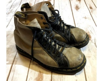 Vintage Dr Martens Gray Black Boots, Vintage Distressed Dr Martens Boots, Worn In Air Wair Leather Dr. Marten Boots, Mens 10.5 Womens 12 US
