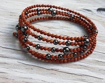 Goldstone and Hematite Memory Wire Bracelet.  Oval Memory Wire Bracelet.  JemstoneZ bracelet.