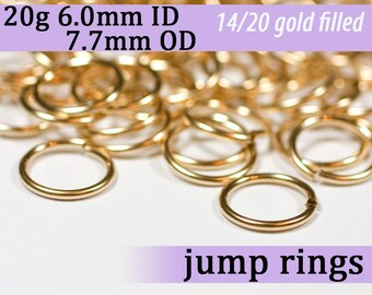 20g 6.0mm ID 7.7mm OD gold filled jump rings -- 20g6.00 goldfill jumprings 14k goldfilled