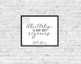 Downloadable Prints | A Thrill of Hope The Weary World Rejoices | Christian Hymn | O Holy Night | Christmas Wall Art | Printable | Instant