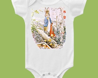 Peter Rabbit, in the garden, Peter Rabbit one piece, baby bodysuit  by ChiTownBoutique.etsy