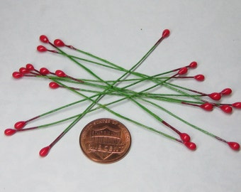 red berry pips on wire size 1 double sided 24 berries / 12 pcs for miniature garland and holiday decoration flower center