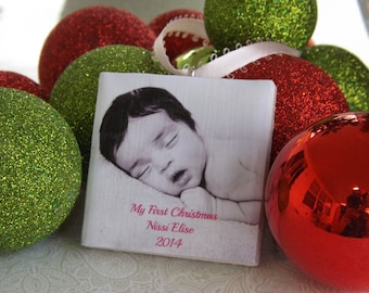 Baby's First Christmas Ornament - Photo Ornament- Personalized Baby Girl Ornament- Photo tile
