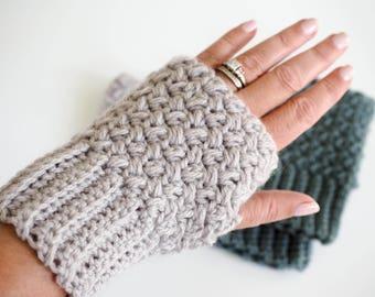 CROCHET PATTERN  |  Fingerless Gloves Crochet Pattern  |  Crochet Fingerless Mittens  | Crochet Hand Warmers | Wrist Warmer Crochet Pattern