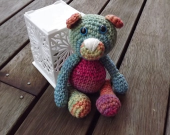 Crocheted Teddy bear - Rainbow  - MADE TO ORDER