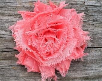 Coral Shabby Flower Hair Clip, Girls Hair Clip, Coral Flower Hair Clip, Coral Hair Bow, Dark Peach Flower Hair Clip, Free Shipping Promo