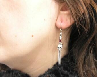 1000-31 Sterling Silver Earrings Skulls with Rubies