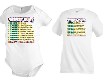 Funny Toddler Rules T shirt Kids Youth tee Baby bodysuit children KP13