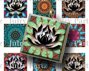 TAPESTRY LOTUS Healing Mandalas, 1x1 Square , Mandalas,Printable Digital Images, Cards, Gift Tags, Scrabble Tiles, Yoga, Meditation