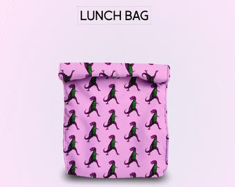 Pink Dinosaurs T-Rex lunch bag for women lunch bag for men lunch bag for kids