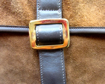 1970's brown suede clutch by Ronay