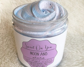 Moon + Stars, Sugar Whipped Soap, Sugar Scrub, Whipped Soap, Body Polish, Emulsified Scrub, Exfoliate, Bath, Moisturizer, Beauty, Skincare