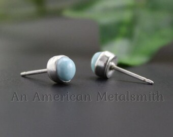 Sterling Silver 5MM Larimar Stud Earrings, Larimar Stud Earrings, Blue Earrings, Blue Larimar Jewelry, Silver Post, Gemstone Earrings