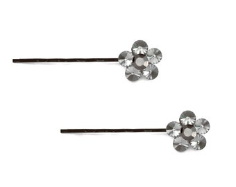 Crystal Cute Single Flower Bobby Pin PAIR Hair Clip Accessory Black Tone Grey Gray Hematite